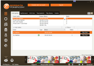 lobby screenshot on borgata poker no deposit bonus room